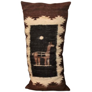 Fantastic Peruvian Indian Lama Lambs Wool Bolster Pillow For Sale