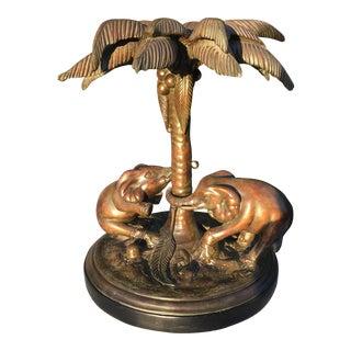 Vintage Cast Elephant & Palm Tree Table Base