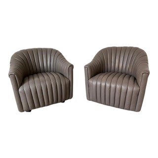 1970s Vintage Ward Bennett Channel Club Leather Chairs - a Pair For Sale