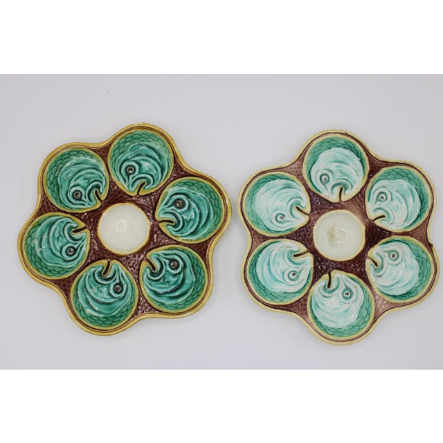 Antique Wedgewood Majolica Ceramic Oyster Plates For Sale In Tulsa - Image 6 of 12