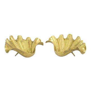 Brass Clam Shells - A Pair For Sale