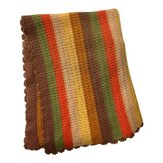 Mid-Century Modern Hand Crocheted Striped Wool Afghan Throw Blanket For Sale