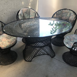 Boho Chic Black Oval Russel Woodard Spun Dining Set - 5 Pieces Preview