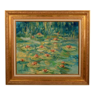 Water Lilies Original Painting 8054 For Sale