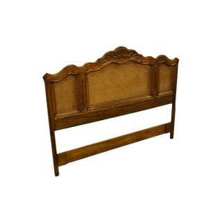 Italian Drexel Heritage Cabernet II Collection Walnut Queen Size Cane Headboard For Sale