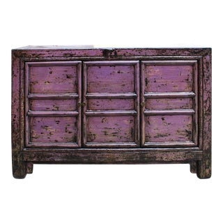 Chinese Distressed Purple Sideboard Console Table Cabinet