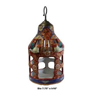 Chinese Vintage Handmade Red Ceramic Birdcage Shape Display Figure Preview