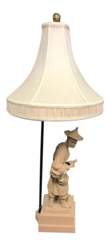 Vintage Clay Asian Man Table Lamp