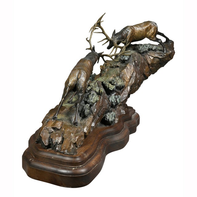 """Western Bronze of Elk """"Forces of Nature"""" by Ken Rowe For Sale - Image 12 of 13"""
