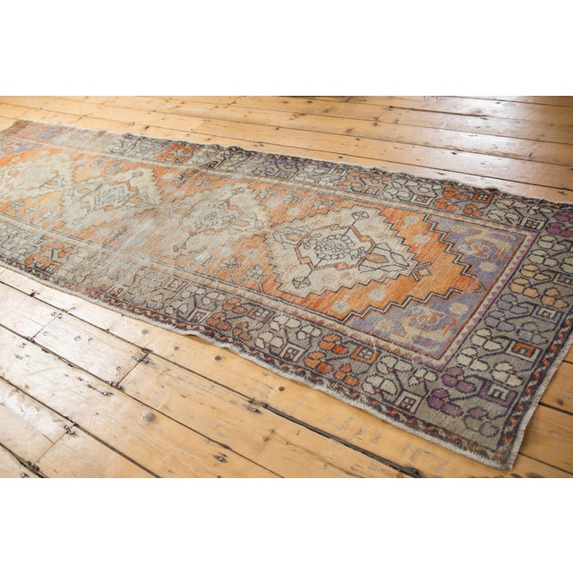 """Vintage Distressed Oushak Rug Runner - 3'3"""" X 10'2"""" For Sale In New York - Image 6 of 13"""