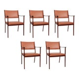 Image of 1950s Danish Modern Ole Wanscher Mahogany and Brown Leather Armchairs - Set of 5 For Sale