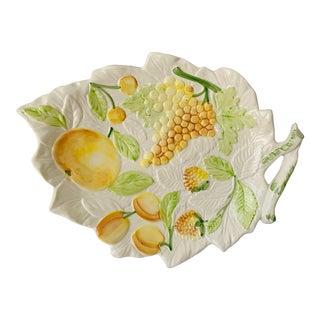 Mid 20th Century Italian Decorative Harvest Platter With Embossed Yellow Fruits For Sale