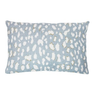 "Modern Light Blue Animal Printed Lien Pillow - 14x20"" For Sale"