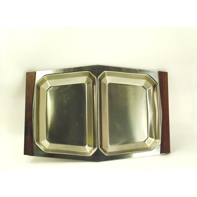 Mid-Century Modern Stelton stainless steel serving tray. Very modern, minimalist and functional tableware made in Denmark,...