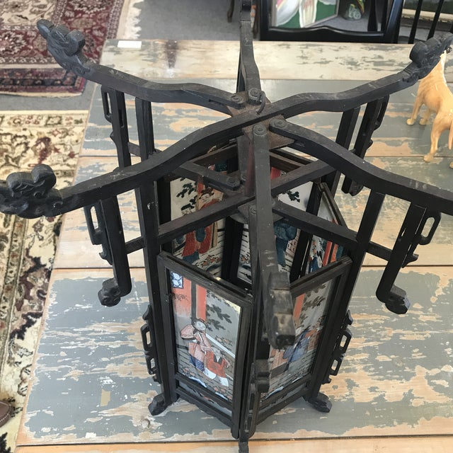 Late 19th Century Antique Asian Six Painted Panel Lantern For Sale - Image 4 of 8