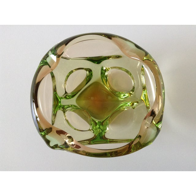 Segues Green & Taupe Italian Murano Bowl - Image 7 of 9