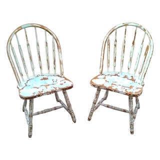 Distressed Farmhouse Windsor Chairs - A Pair
