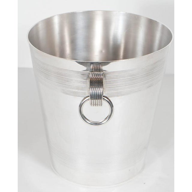 1930s Handsome English Art Deco Silver-Plate Ice Bucket with Stylized Ring Handles For Sale - Image 5 of 10