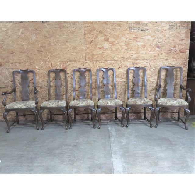 Set of 6 walnut Queen Anne style Dining Chairs , made in Italy, pegged construction, set consist of 2 arm chairs and 4...