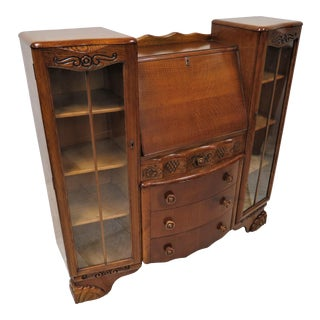 English Oak Art Deco Drop Front Secretary With Side by Side Display Cabinets For Sale