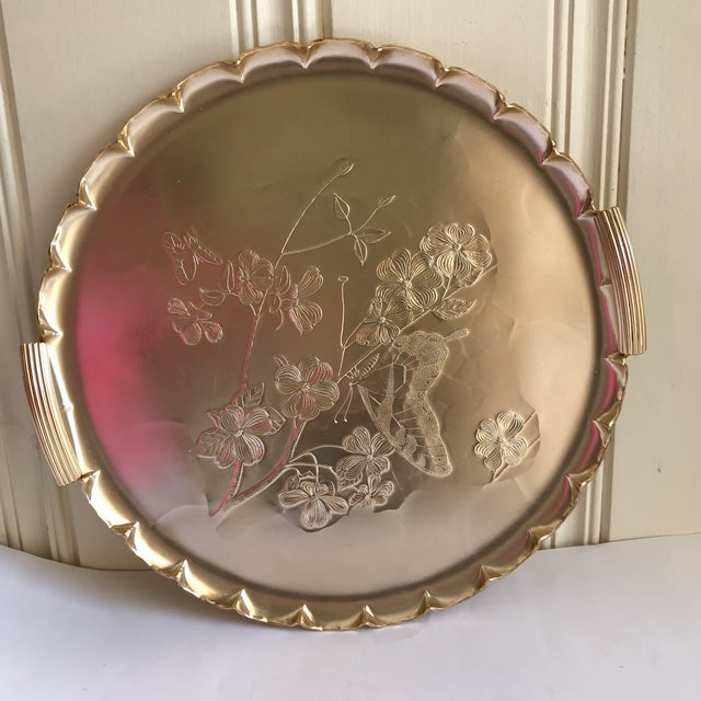 1990s Americana Rose-Gold Etched Serving and Decor Tray For Sale - Image 10 of 10