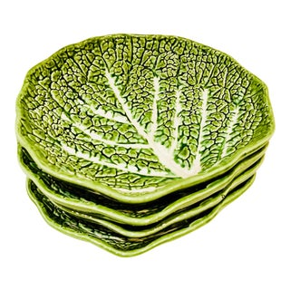 Majolica Lettuce Leaf Salad Plates, S/4 For Sale