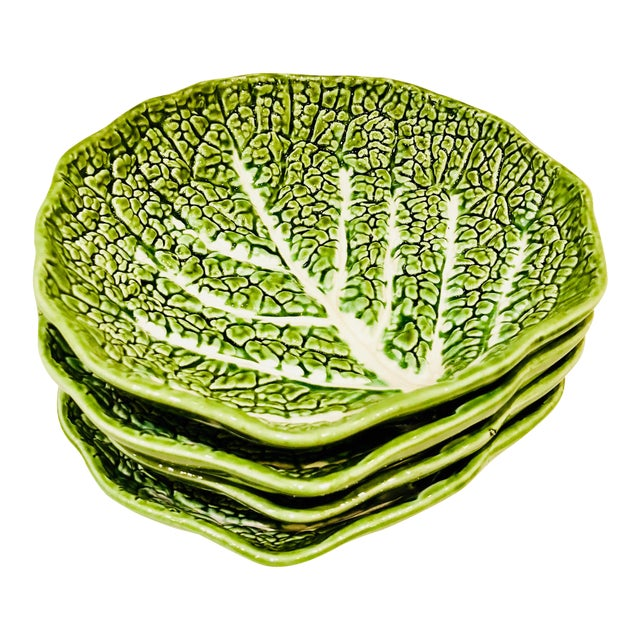 Majolica Lettuce Leaf Salad Plates, S/4 For Sale