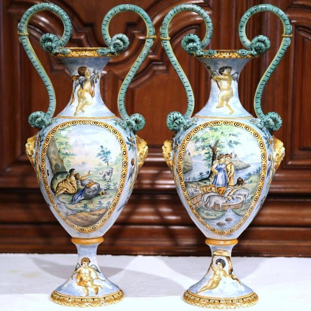 19th Century Italian Hand Classical Roman Scene Painted Vases A