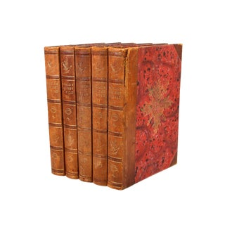 1942-1945 Vintage World War II Red & Leather Bound Swedish Books - Set of 5 For Sale