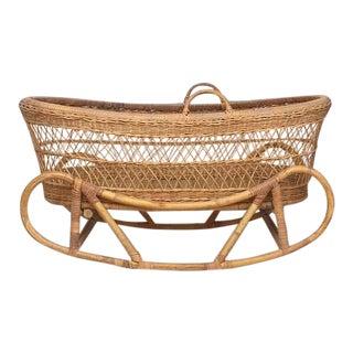Mid Century Modern Rattan & Bent Bamboo Bassinet Cradle Rocking Bohemian Nursery