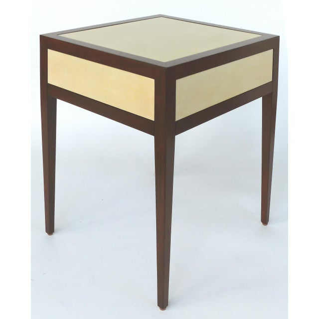 Modern Williams & Sonoma Home Mahogany & Parchment Side Table For Sale - Image 3 of 11