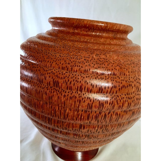 1990s 1991 Boho Chic Large Artisan Turned Bloodwood Palm Beehive Vase by John Penrod (Signed) For Sale - Image 5 of 13