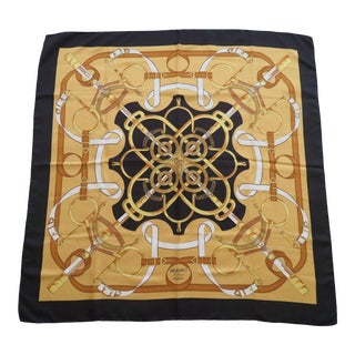 Vintage 1974 Hermes Eperon d'Or Silk Scarf With Black Colorway For Sale