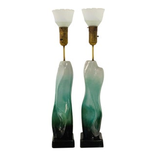 Pair of Sculptural Glazed Ceramic Lamps by Arpad Rosti For Sale