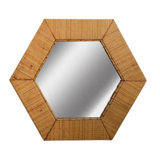Vintage Hexagon Rattan Mirror-- Raymor