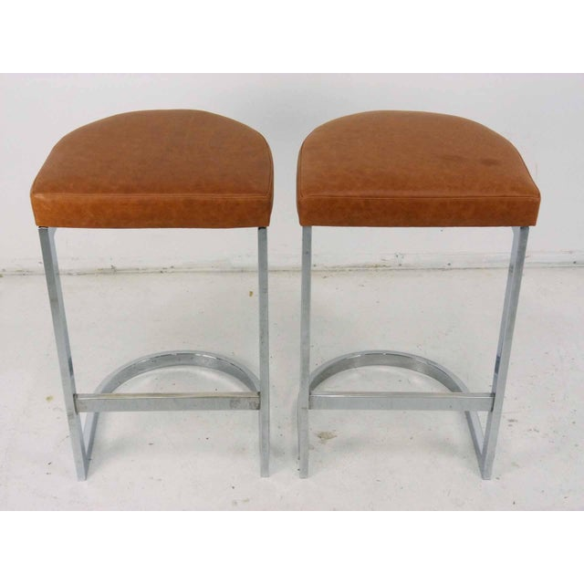 Milo Baughman Style Flat Bar Chrome Cantilever Bar Stools - A Pair - Image 3 of 10