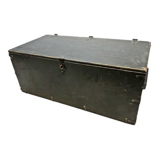 Vintage US Military Green Wood Foot Locker with Tray