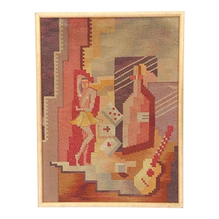 Mid 20th C. Modern Cubist Tapestry-Hand Woven-Cuba, Circa 1950's