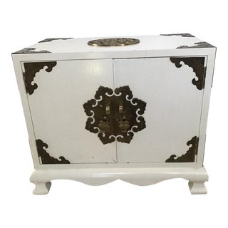 Asian Chinoiserie Laquer Brass Jewelry Box