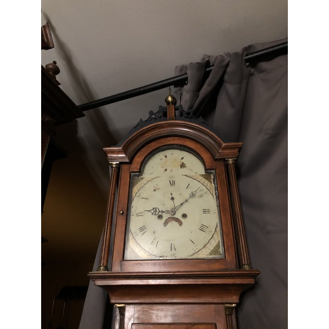 Early 19th Century Antique Early American Grandfather Clock Attributed to Silas Parsons For Sale - Image 5 of 10