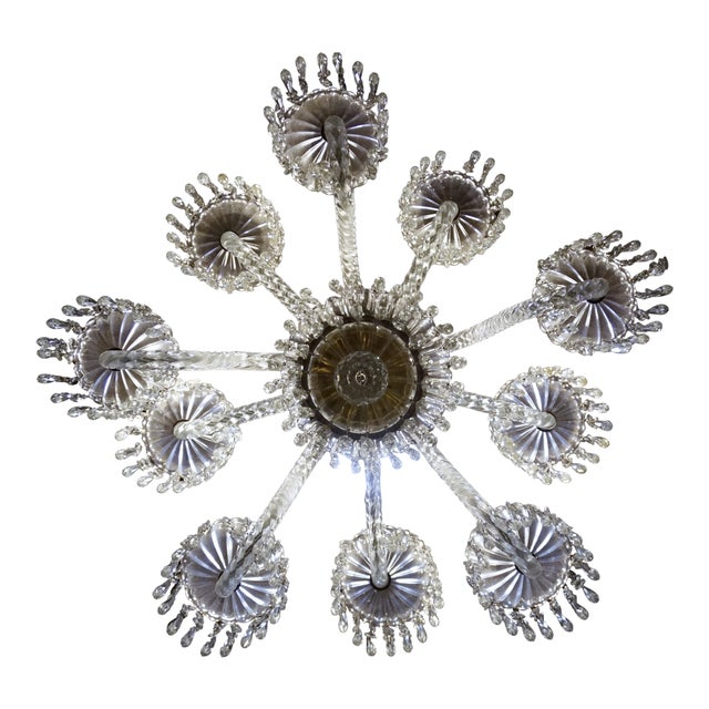 Antique Baccarat Undulating 10-Armed Crystal Waterfalls Chandelier For Sale In San Francisco - Image 6 of 8