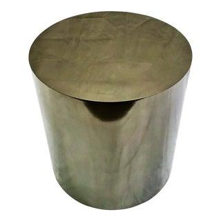 Pewter Metal Cylinder Table/Pedestal For Sale