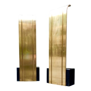 Donald Deskey Bronze Waterfall Andirons - a Pair For Sale