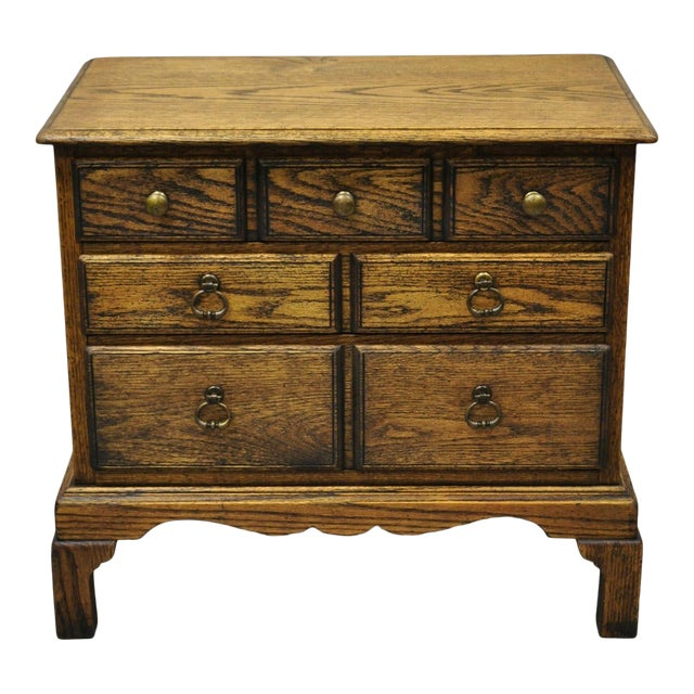 Vintage English Colonial Miniature Oak Wood Small Campaign Chest Side Table For Sale