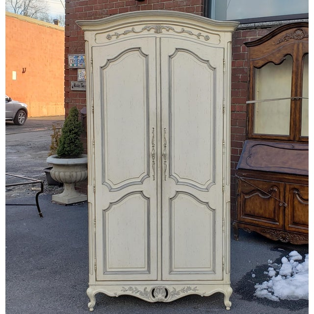 Painted White Century Furniture French Provincial Double Door Bedroom Tv Armoire Cabinet C1990s For Sale - Image 12 of 12