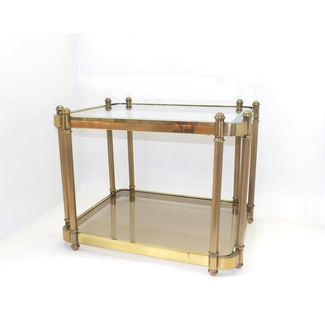 1960's Hollywood Regency Brass 2 Tier Glass Side Table For Sale - Image 10 of 10