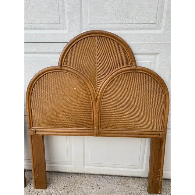 1970s Split Reed Rattan Twin Headboards in the Manner of Gabriella Crespi - a Pair For Sale - Image 4 of 8