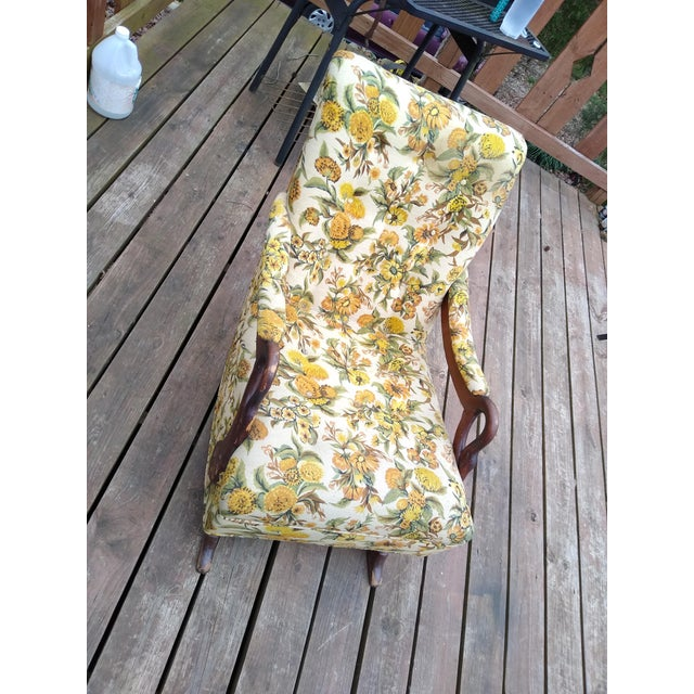 This is an early 1900s platform gooseneck rocker valued at around $300. All original fabric, beautiful wood, very...