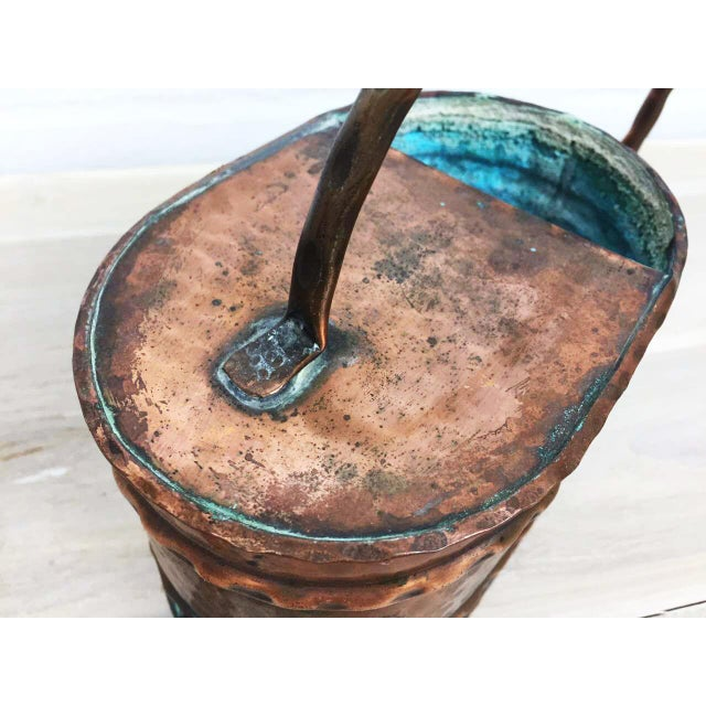 Vintage French Country Rustic Copper Flower Watering Pot - Image 6 of 9