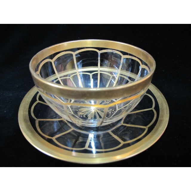 Mid 20th Century Vintage Mid Century Gold Gilt Glass Cream Soup Bowl & Saucer- 8 Pieces For Sale - Image 5 of 8